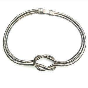 Vintage double layer Silvertone flex choker collar